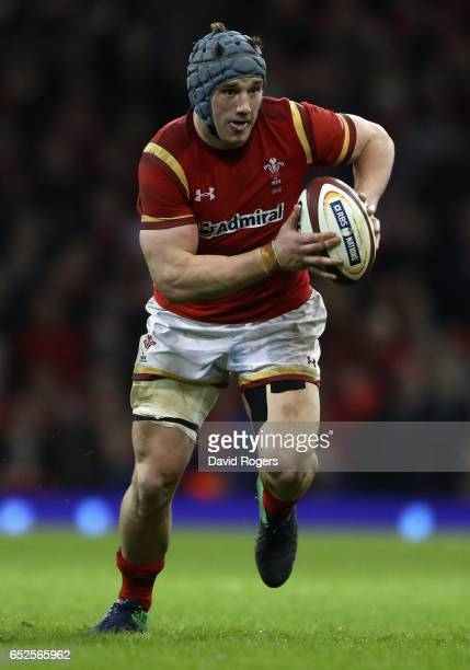 Jonathan Davies of Wales runs with the ball during the RBS Six Nations match between Wales v Ireland at the Principality Stadium on March 10 2017 in...