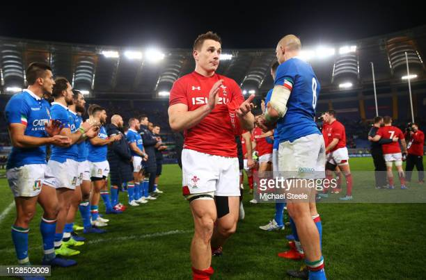 Jonathan Davies of Wales walks off the pitch after victory during the Guinness Six Nations match between Italy and Wales at Stadio Olimpico on...