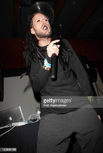 Jonathan Davis aka 'JDevil' performs at 'The Path of Totality' listening party hosted by KoRn at Dim Mak Studios on April 9 2012 in Hollywood...