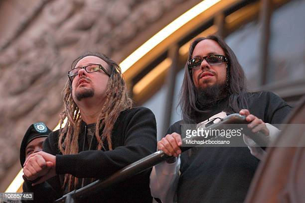 Jonathan Davis and Fieldy of Korn during Korn 'See You On The Other Side' PreAlbum Release Press Conference with US Soldiers at The Hard Rock Cafe...