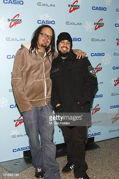 Jonathan Davis and Fieldy of Korn during Stuff Magazine Toys for Bigger Boys Casio Gifting Area at Hammerstein Ballroom in New York City New York...