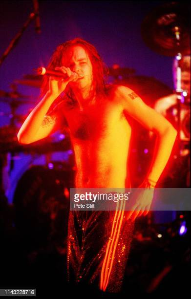 Jonathan Davis of American nu metal band Korn performs on stage at The Brixton Academy on February 24th 1997 in London England