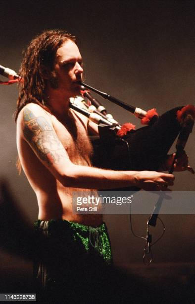 Jonathan Davis of American nu metal band Korn plays the bagpipes during the band's performance on stage at The Brixton Academy on February 24th 1997...