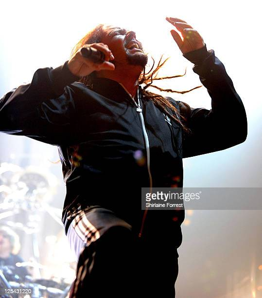 Jonathan Davis of Korn performs at Manchester Apollo on October 10 2010 in Manchester England