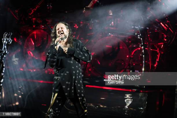 Jonathan Davis of Korn performs at Ruoff Home Mortgage Music Center on August 20 2019 in Noblesville Indiana