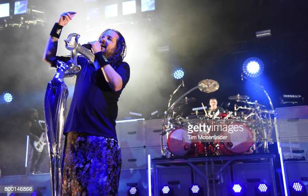Jonathan Davis of Korn performs during 'The Serenity of Summer Tour' at Shoreline Amphitheatre on June 22 2017 in Mountain View California