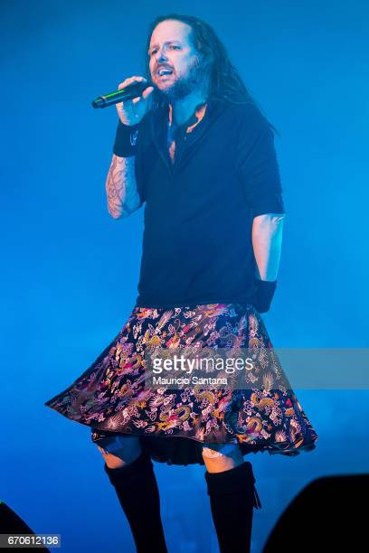 Jonathan Davis of Korn performs live on stage at Espaco das Americas on April 19 2017 in Sao Paulo Brazil