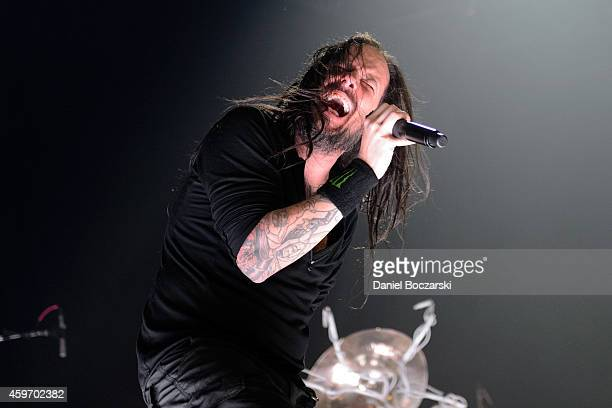 Jonathan Davis of KoRn performs on stage at Allstate Arena on November 28 2014 in Chicago United States
