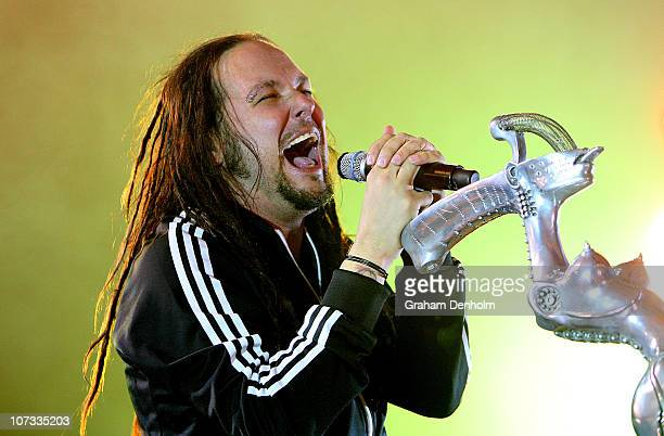 Jonathan Davis of Korn performs on stage at Festival Hall on December 5 2010 in Melbourne Australia