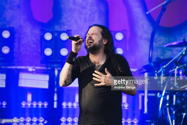 Jonathan Davis of Korn performs on the main stage during day 3 at Leeds Festival at Bramhall Park on August 27 2017 in Leeds England