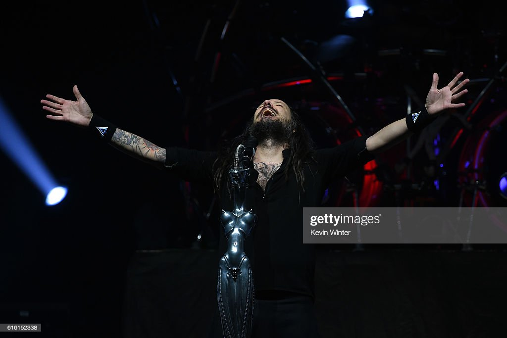Jonathan Davis of Korn performs onstage at a private concert for SiriusXM at The Theatre at Ace Hotel on October 21, 2016 in Los Angeles, California. The performance airs live on SiriusXM's Octane Channel.
