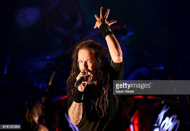 Jonathan Davis of Korn performs onstage at a private concert for SiriusXM at The Theatre at Ace Hotel on October 21 2016 in Los Angeles California...