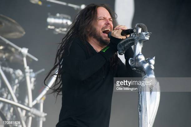 Jonathan Davis of Korn performs onstage at Day 1 of The Download Festival at Donnington Park on June 14 2013 in Donnington England