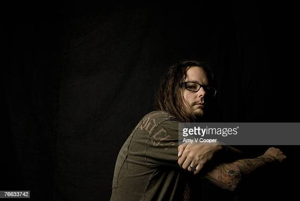 Jonathan Davis of the band Korn poses at a portrait session for MTVcom in New York City