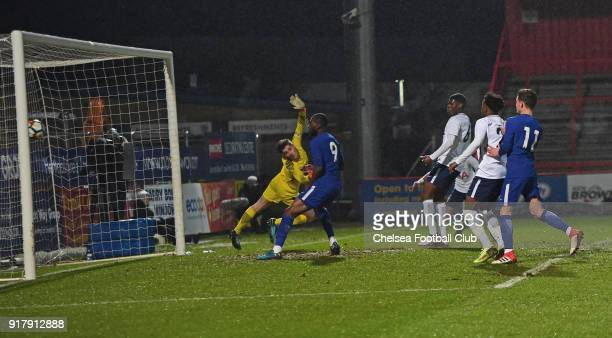 Jonathan de Brie of Tottenham can't stop the shot of Dujon Sterling of Chelsea during the FA youth cup match between Tottenham Hotspur and Chelsea at...