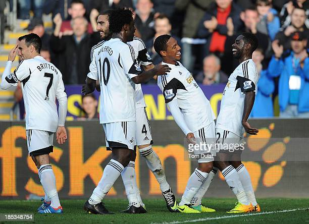 Jonathan de Guzman celebrates his goal for Swansea City with Nathan Dyer during the Barclays Premier League match between Swansea City and Sunderland...