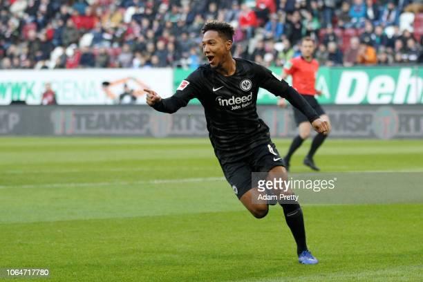 Jonathan De Guzman of Eintracht Frankfurt celebrates after scoring his team's first goal during the Bundesliga match between FC Augsburg and...