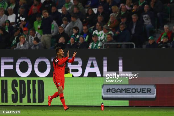 Jonathan de Guzman of Eintracht Frankfurt celebrates scoring his teams first goal of the game during the Bundesliga match between VfL Wolfsburg and...