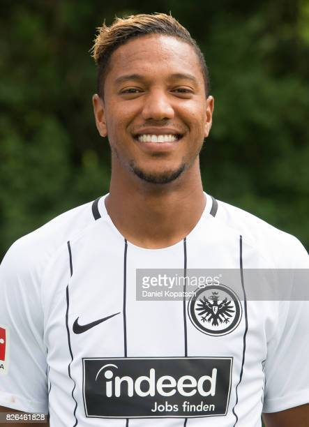 Jonathan de Guzman of Eintracht Frankfurt poses during the team presentation at on August 4, 2017 in Frankfurt am Main, Germany.