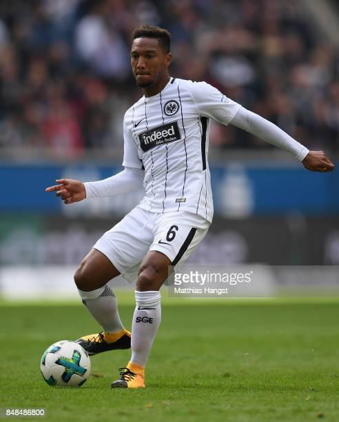 Jonathan de Guzman of Frankfurt controls the ball during the Bundesliga match between Eintracht Frankfurt and FC Augsburg at CommerzbankArena on...