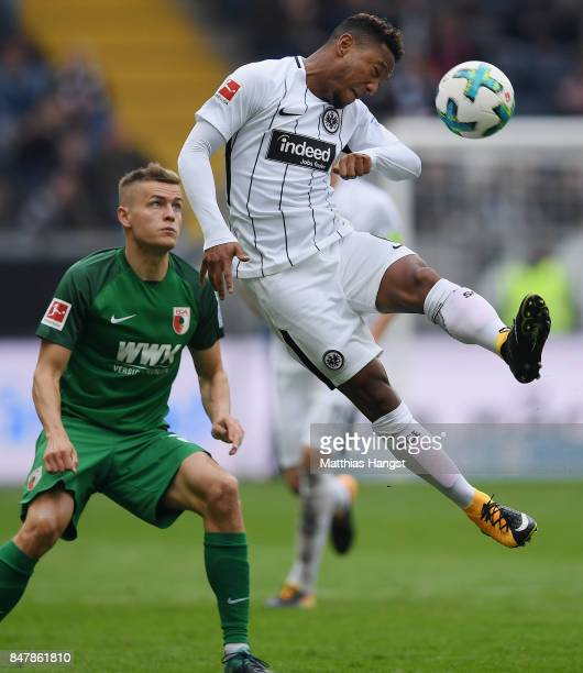 Jonathan de Guzman of Frankfurt jumps for a ball during the Bundesliga match between Eintracht Frankfurt and FC Augsburg at CommerzbankArena on...