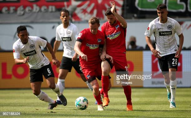 Jonathan de Guzman of Frankfurt Ondrej Duda of Hertha Mathew Leckie of Hertha and Aymen Barkok of Frankfurt battle for the ball during the Bundesliga...