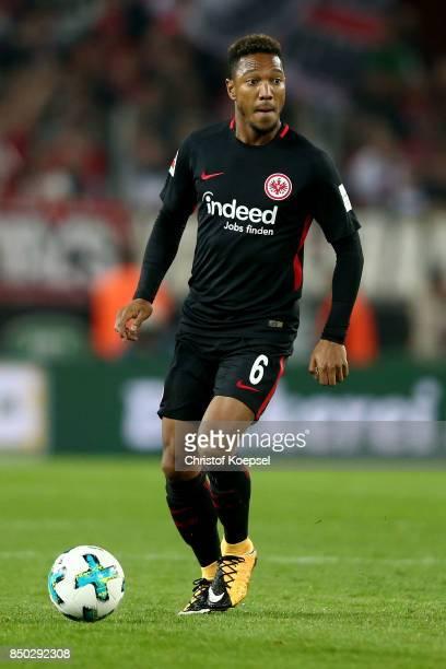 Jonathan de Guzman of Frankfurt runs with the ball during the Bundesliga match between 1 FC Koeln and Eintracht Frankfurt at RheinEnergieStadion on...