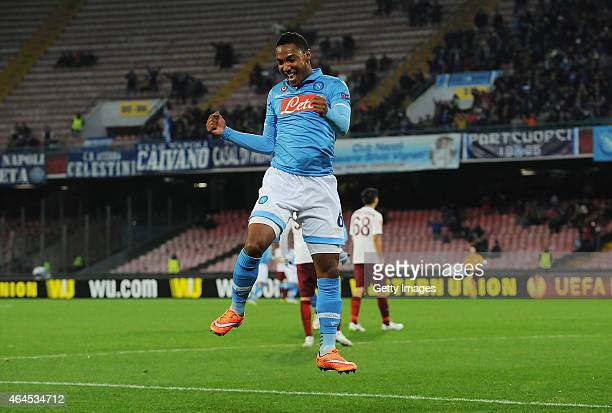 Jonathan De Guzman of Napoli celebrates after scoring goal 1-0 during the UEFA Europa League Round of 32 football match between SSC Napoli and...