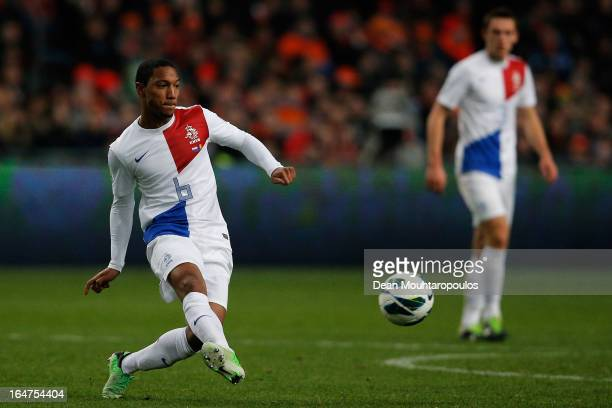 Jonathan De Guzman of Netherlands in action during the Group 4 FIFA 2014 World Cup Qualifier match between Netherlands and Romania at Amsterdam Arena...