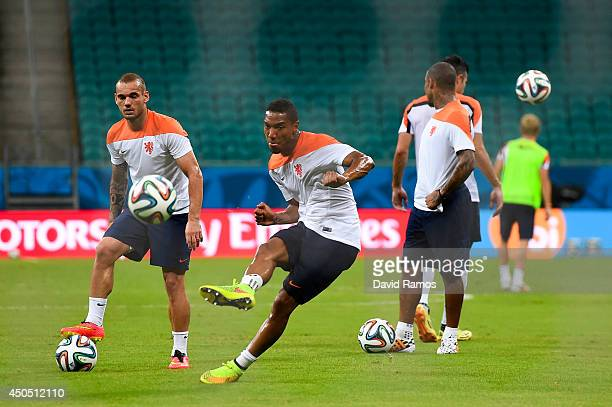 Jonathan De Guzman of Netherlands shoots towards the goal during the Netherlands training session before the 2014 FIFA Word Cup Group B match between...