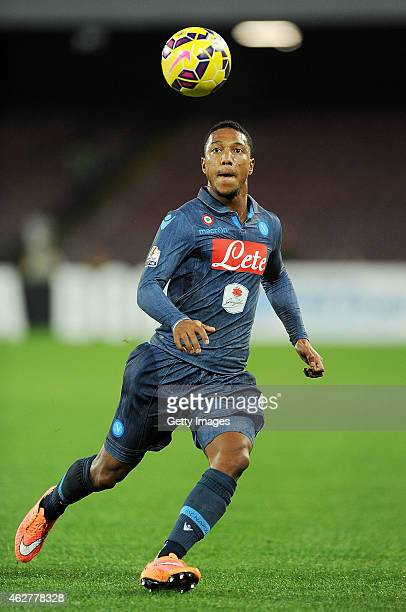 Jonathan De Guzman of SSC Napoli in action during the TIM CUP match between SSC Napoli and FC Internazionale at the San Paolo Stadium on February 4...