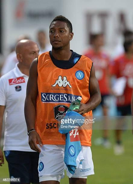 jonathan De Guzman of SSC Napoli looks on during the preseason frienldy match between SSC Napoli and Feralpi Salo at Stadio Briamasco on July 24 2015...