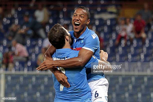 Jonathan De Guzman of SSN Napoli celebrate a goal during the Serie A match between Genoa CFC and SSC Napoli at Stadio Luigi Ferraris on August 31...