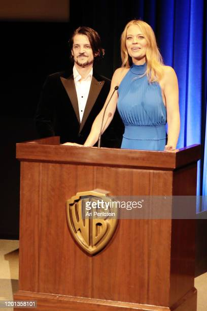 Jonathan Del Arco and Jeri Ryan speak onstage during The Advanced Imaging Society's 11th Annual Lumiere Awards at Steven J Ross Theatre on the Warner...