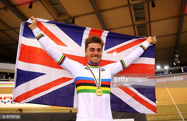 Jonathan Dibben of Great Britain celebrates his gold medal after winning the final of the Mens Points Race during Day Three of the UCI Track Cycling...