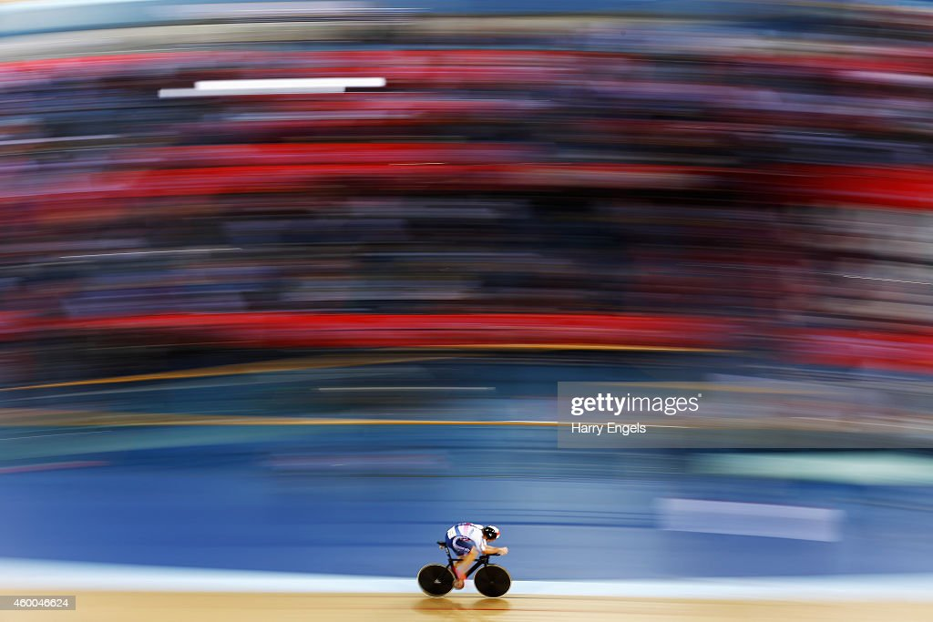 Jonathan Dibben of Great Britain rides during the Men's Omnium Individual Pursuit on day two of the UCI Track Cycling World Cup at the Lee Valley Velopark Velodrome on December 6, 2014 in London, England.