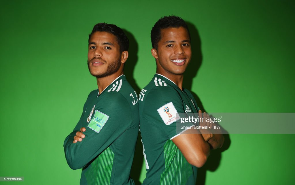 Jonathan Dos Santos and brother Giovani Dos Santos of Mexico poses for a portrait during the official FIFA World Cup 2018 portrait session at the team hotel on June 12, 2018 in Moscow, Russia.