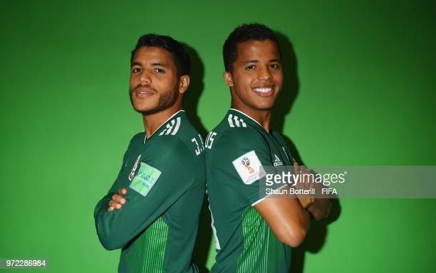 Jonathan Dos Santos and brother Giovani Dos Santos of Mexico poses for a portrait during the official FIFA World Cup 2018 portrait session at the...