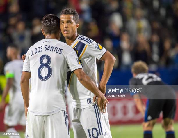 Jonathan dos Santos and Giovani dos Santos of Los Angeles Galaxy during the Los Angeles Galaxy's MLS match against San Jose Earthquakes at the...