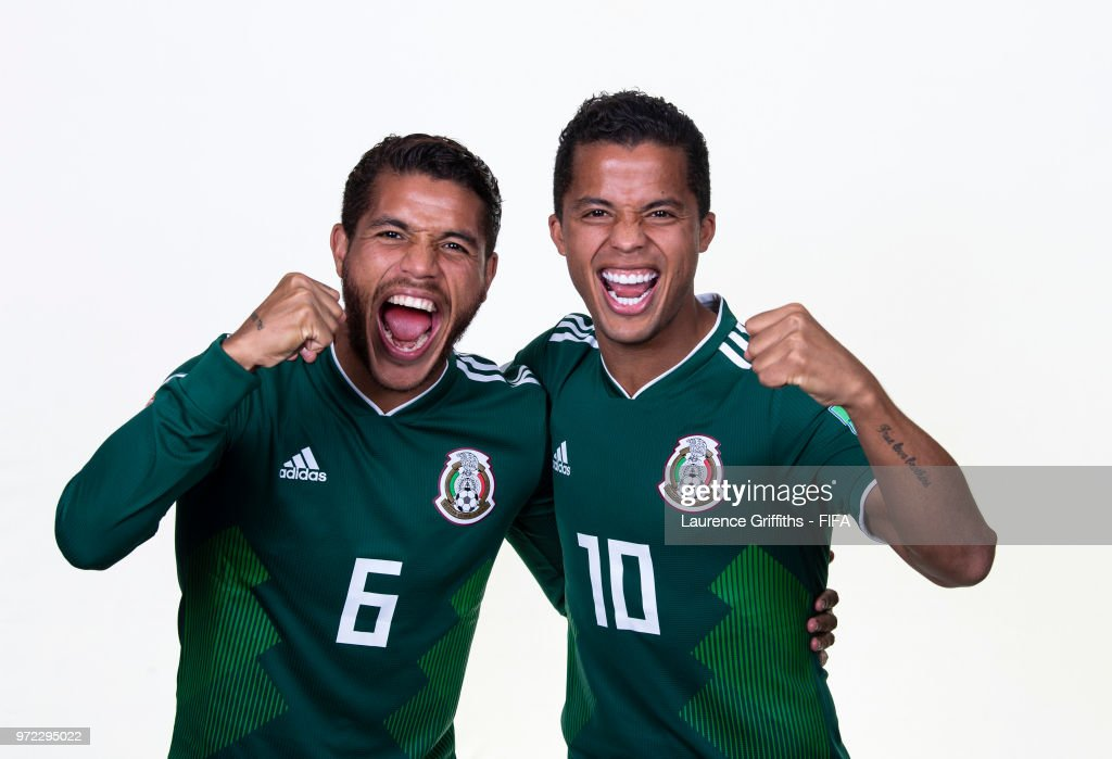 Jonathan dos Santos and Giovani dos Santos of Mexico pose for a portrait during the official FIFA World Cup 2018 portrait session at the Team Hotel on June 12, 2018 in Moscow, Russia.