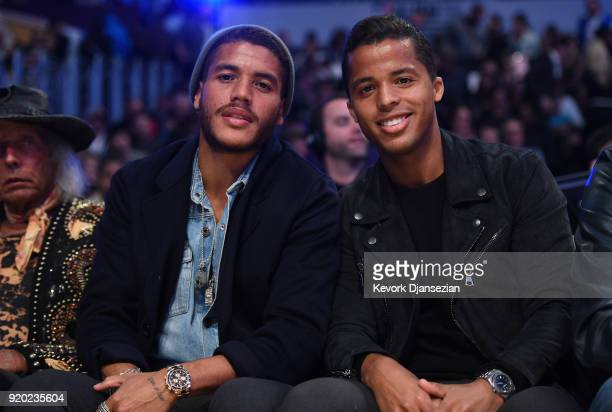 Jonathan dos Santos and Giovanni dos Santos attend the NBA All-Star Game 2018 at Staples Center on February 18, 2018 in Los Angeles, California.