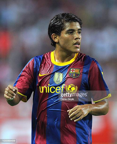 Jonathan Dos Santos of Barcelona during the Supercopa, first leg, match between Sevilla and Barcelona at the Sanchez Pizjuan stadium on August 14,...