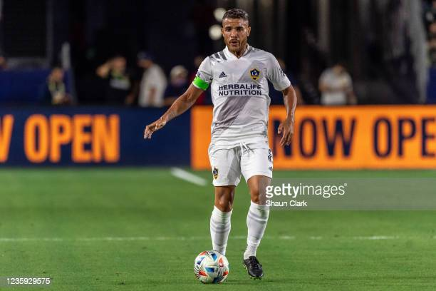 Jonathan dos Santos of Los Angeles Galaxy controls the ball during the game against Portland Timbers at the Dignity Health Sports Park on October 16,...