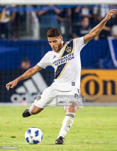 Jonathan dos Santos of Los Angeles Galaxy crosses the ball during the Los Angeles Galaxy's MLS match against Minnesota United at the StubHub Center...