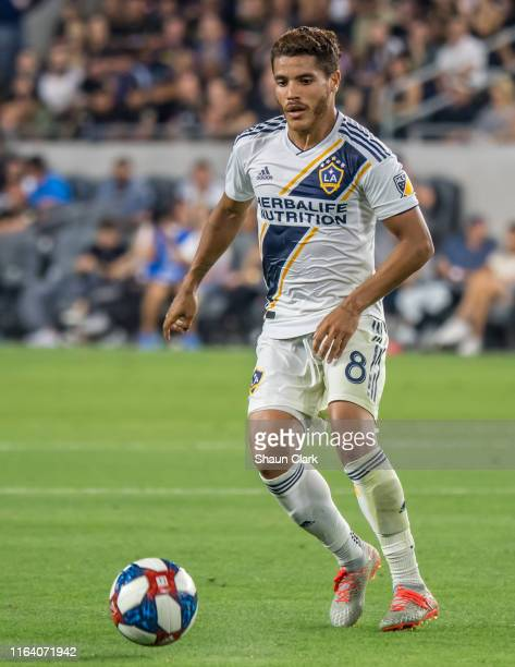 Jonathan dos Santos of Los Angeles Galaxy during Los Angeles FC's MLS match against Los Angeles Galaxy at the Banc of California Stadium on August...