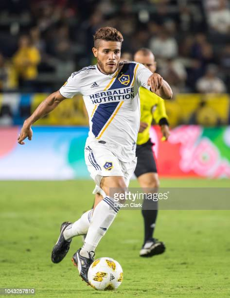 Jonathan dos Santos of Los Angeles Galaxy during the Los Angeles Galaxy's MLS match against Vancouver Whitecaps at the StubHub Center on September 29...