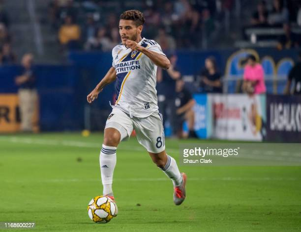 Jonathan dos Santos of Los Angeles Galaxy during the Los Angeles Galaxy's MLS match against Sporting KC at the Dignity Health Sports Park on...