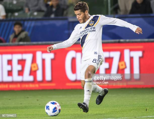 Jonathan dos Santos of Los Angeles Galaxy during the Los Angeles Galaxy's MLS match against Portland Timbers at the StubHub Center on March 4 2018 in...