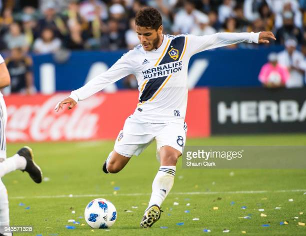 Jonathan dos Santos of Los Angeles Galaxy during the Los Angeles Galaxy's MLS match against Sporting Kansas City at the StubHub Center on April 8...
