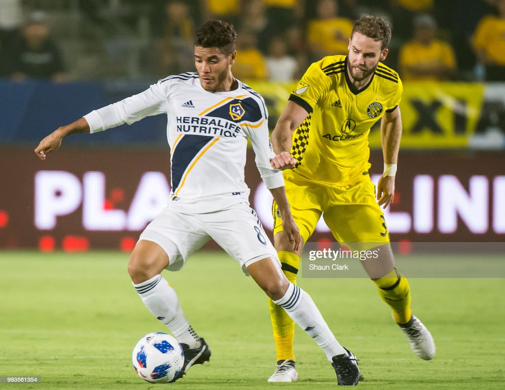 Jonathan dos Santos #8 of Los Angeles Galaxy during the Los Angeles Galaxy's MLS match against Columbus Crew at the StubHub Center on July 7, 2018 in Carson, California. Los Angeles Galaxy won the match 4-0
